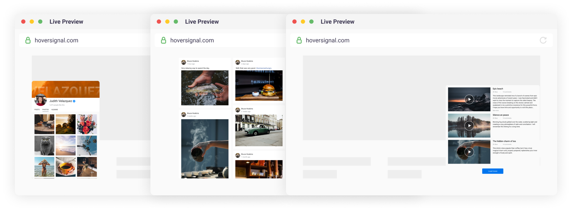Hoversignal — Facebook Feed, designed with interface flexibility